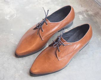 Brown Oxford Shoes, Women Leather Shoes,  Flat Leather Shoes, Camel Oxfords, Handmade Shoes, Lace Up Shoes, Brown Shoes