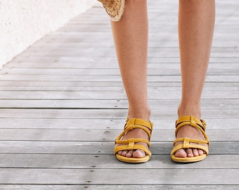 Handmade Sandals, Suede Leather Sandals, Bohemian Sandals, Yellow Summer Sandals, Comfortable Summer Shoes