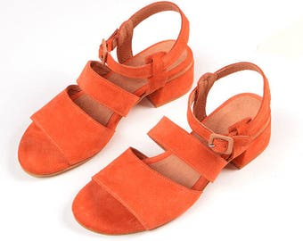 Orange Leather Sandals, Strappy Sandals With Side Buckle, Elegant Sandals, Women's Sandals, Summer Shoes, Handmade Shoes