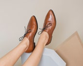 Brown Leather Oxfords, Brown Oxford Shoes, Leather Flat Shoes, Women Shoes, Lace up Shoes, Formal Shoes, Flat Oxfords, Pointy Flats