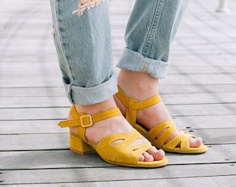 Yellow Sandals For Women, Leather Sandals, Low Heel Sandals, Women Summer Shoes, Yellow  Gladiator Sandals, Handmade Sandals