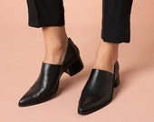 Women's Black Leather Shoes, Handmade Formal Slip On Shoes, Pointed Toe Classic Everyday Shoes
