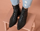 Womens Black Snake Leather Lace Up Ankle Boots, Comfortable Stylish Pointy Short Boots