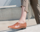 Tan Brown Leather Flats, Women's Custom Made Shoes, Elegant Shoes, Dress Shoes, Brown Loafers, Formal Office Shoes, Minimalist Shoes
