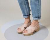 Nude Leather Sandals, Off White Women Sandals, Summer Beige Shoes, Slingback Modern Sandals, Crisscross Sandals, Comfortable Summer Sandals