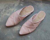 Womens Leather Mules, Leather Slides, Pink Leather Mules, Leather Sandals, Slip Ons, Leather Flats, Mule Shoe, Pointed Toe Flats