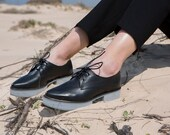 Black Leather Platform Oxfords, Cool Lace Up Oxfords with Gray Heels For Women, Hipster Shoes, Lightweight Handmade Shoes