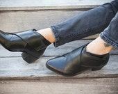 Black Criss Cross Leather Boots, Handmade Leather Ankle Booties