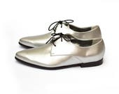 Silver Oxford Shoes For Women, Stylish Metallic Vegan Leather Oxfords