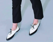 Women Saddle Shoes, Black and White Leather Shoes, Women Oxfords, Flat Leather Oxfords, Elegant Derby, Custom Shoes, Office Shoes for Women