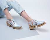 Light Blue Leather Sandals with Platform Heels For Women, Wedges