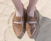 Brown Textured Leather Sandals, Flat Comfortable Sandals, Closed Toe Sandals, Ladies Strap Sandals with Side Buckle
