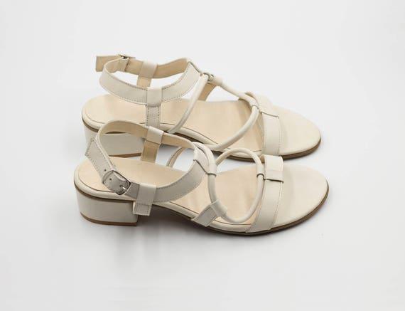 en cuir Sandales sandales mari de blanches sandales qHxRxSgP
