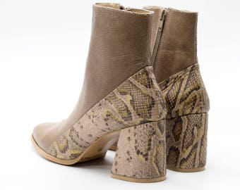 Women Leather Boots, Snake Skin Boots,  Brown Booties, 7cm heels, Winter Shoes, Custom Made Booties, Comfortable Shoes