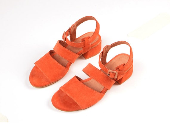 Toe Sandals Orange Casual Heel Sandals Women Medium Sandal Suede Open Sandals Sandals Sandals Summer Leather 7RTqd7O