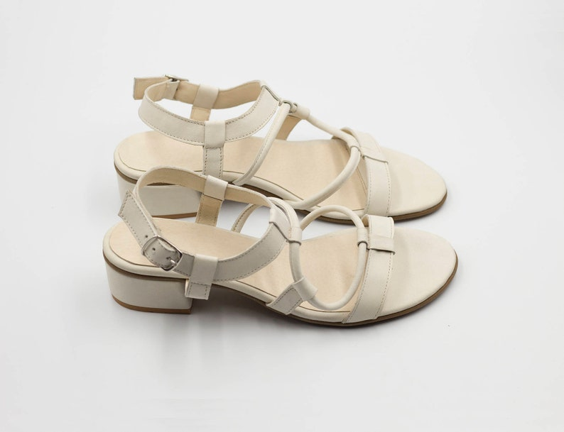 White Leather Sandals Strappy Sandals Low Heels Wedding Shoes Summer Sandals Comfortable Handmade Shoes