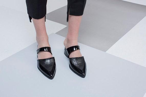 Mule Mules Heels Sandals Leather Black Designer Mules Shoes sandals Summer Leather Mules Woman Shoes Shoes Mules Black Slides Black HqBS4wYS