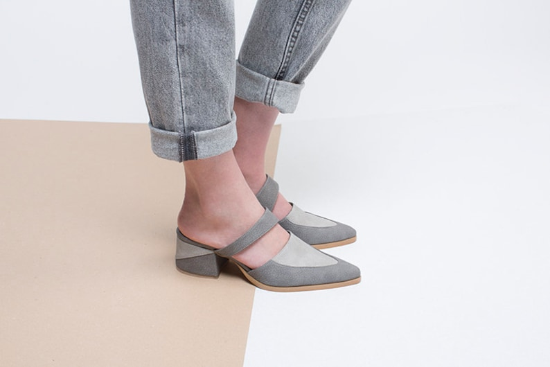 3679d8e29f48 Grey Vegan Mules Stylish Vegan Shoes Women Mules with 5 cm