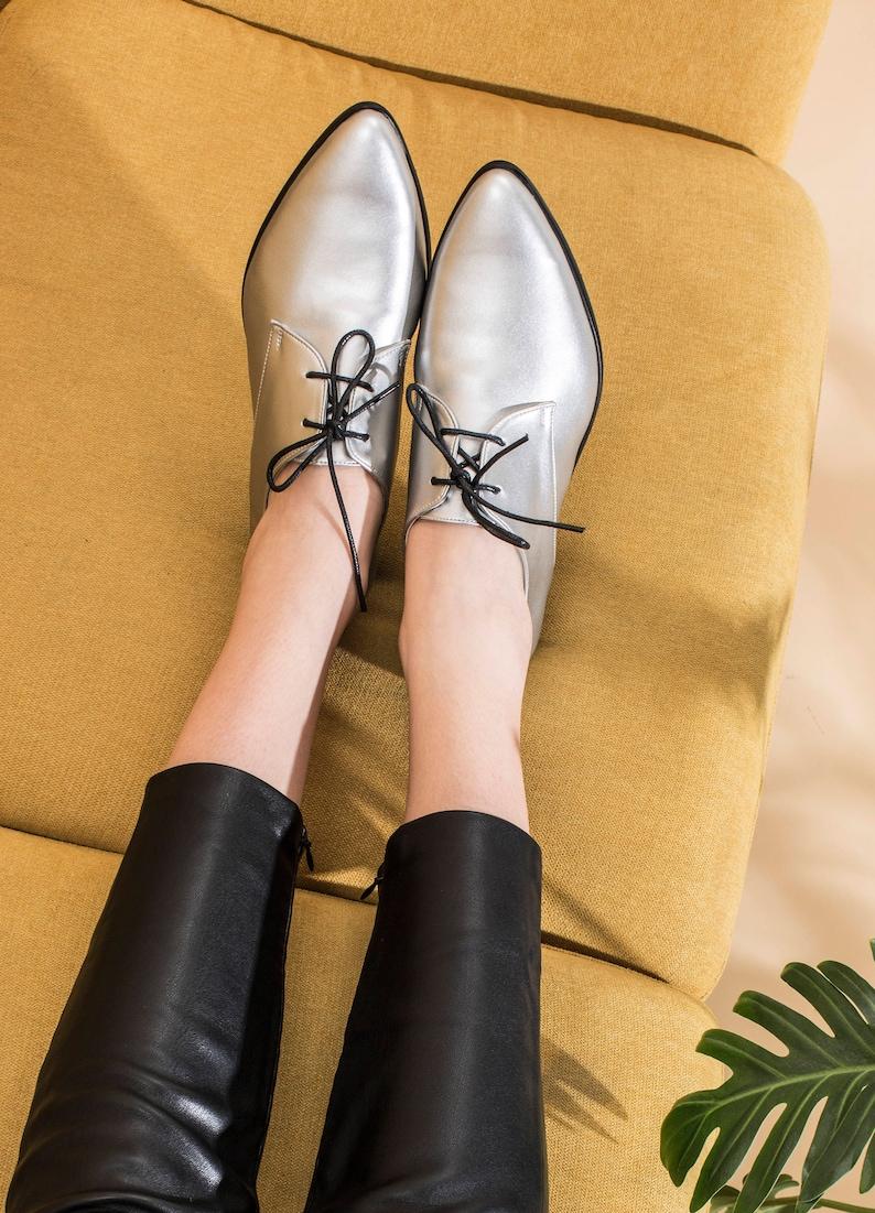 c2e5144b897ae Silver Oxford Shoes For Women Stylish Metallic Vegan Leather   Etsy