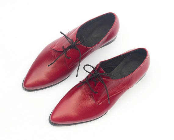 94fa62191b5b6 Red Leather Shoes Red Oxford Shoes Women Oxford Shoes Flat