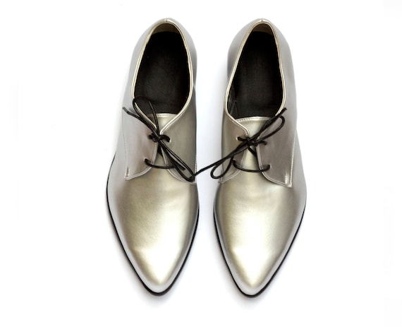 Metallic Shoes Silver Women's Silver Lace Shoes Oxfords Oxfords Shoes Vegan Shoes Up Custom Women xERwI
