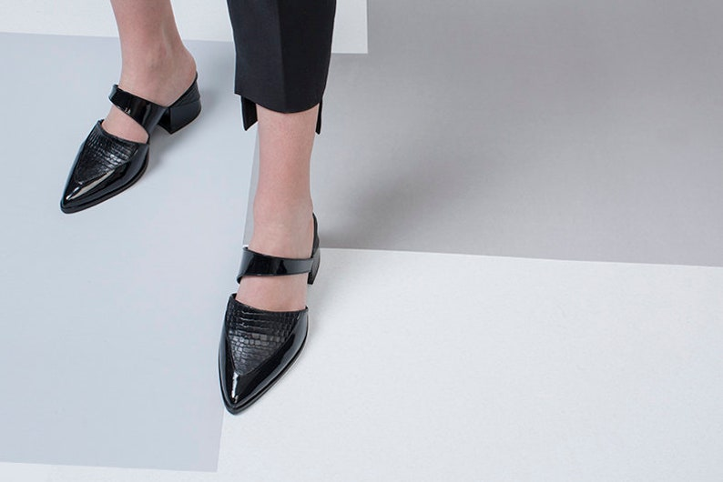 4a11a5c2c0f83 Women Formal Black Mules, Pointed Toe Shoes, Leather Comfort Shoes, Slip  Ons Summer Sandals, Elegant Black Work Office Mules