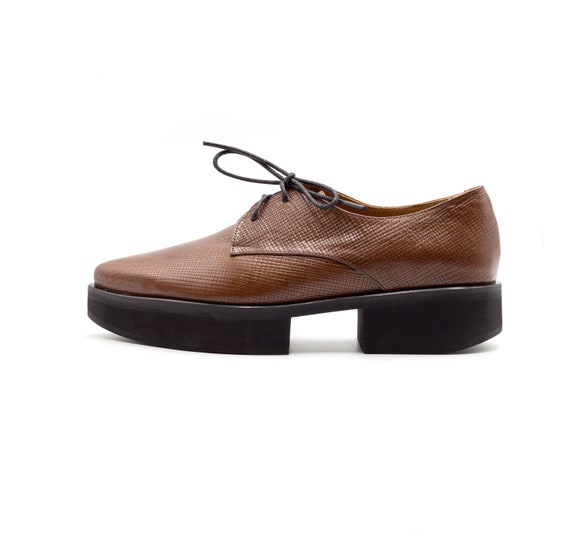 Women Platform Oxfords Brown Leather Shoes Oxfords Shoes For Etsy