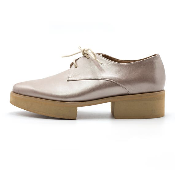 Flats Shoes Oxfords Oxfords Pointy Comfortable oxfords Leather Metallic Oxfords Shoes Metallic Shiny Platform Thick Women Flats Sole qAt6w8nnx