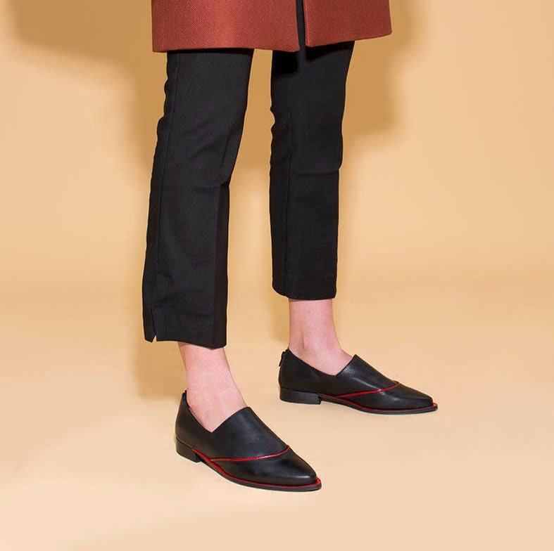Black Loafers, Women Leather Shoes, Slip Comfortable Shoes, Red Black Slip Shoes, On Shoes, Pointed Toe Shoes, Evening Shoes, Formal Black Shoes 3917f3