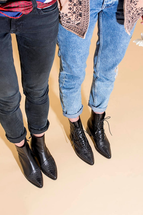 Women Boots Boots Boots Boots Leather Ankle Lace Short Leather Boots Boots Booties Black Pointy Up Boots Pointy Black Black wAvtpq