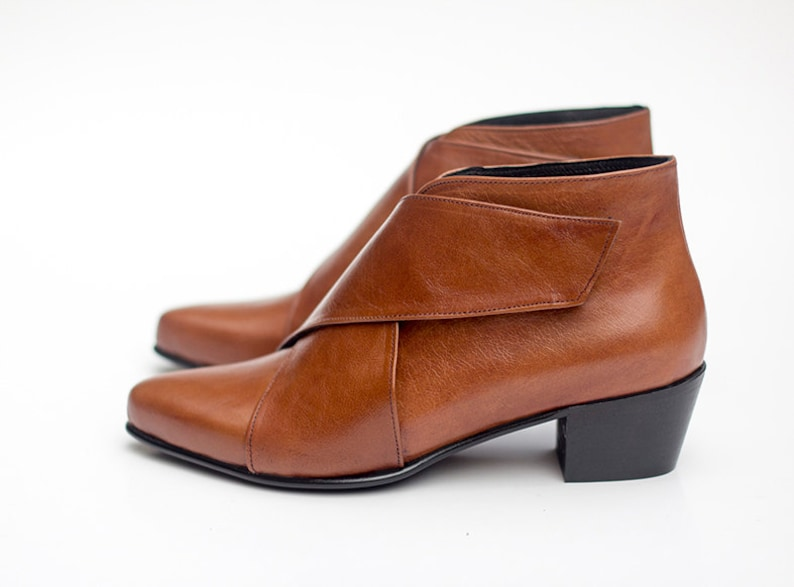 02560f966751 Camel Brown Leather Ankle Boots Women Brown Custom Made X