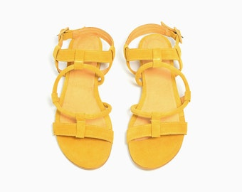 Yellow Leather Sandals, Women Sandals, Designer Sandals, Summer Shoes, Sandals with Straps