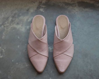 Pink Mules, Mules, Flat Leather Shoes, Women Shoes, Summer Sandals, Handmade Designer Shoes, Pink Shoes, Slides and Mules