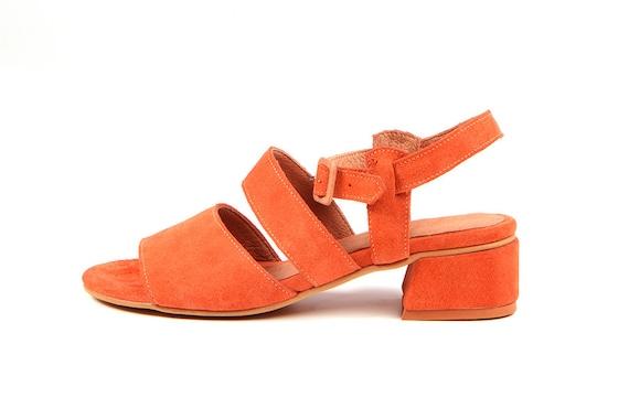 Sandals Sandals Casual Sandal Toe Summer Suede Medium Open Sandals Orange Leather Women Sandals Heel Sandals nq4Fqw0X