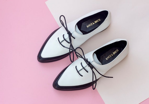 and Women White Women Shoes Shoes Leather Women Saddle Derby Elegant Shoes Custom for Oxfords Leather Shoes Flat Office Black Oxfords pnntI0H
