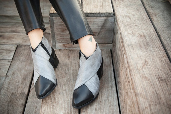 Shoes shoes Shoes Boots Leather Leather Boots booties Ankle Women Cross Leather Black Black Shoes Criss Boots Woman Gray Black Womens nH0pWW