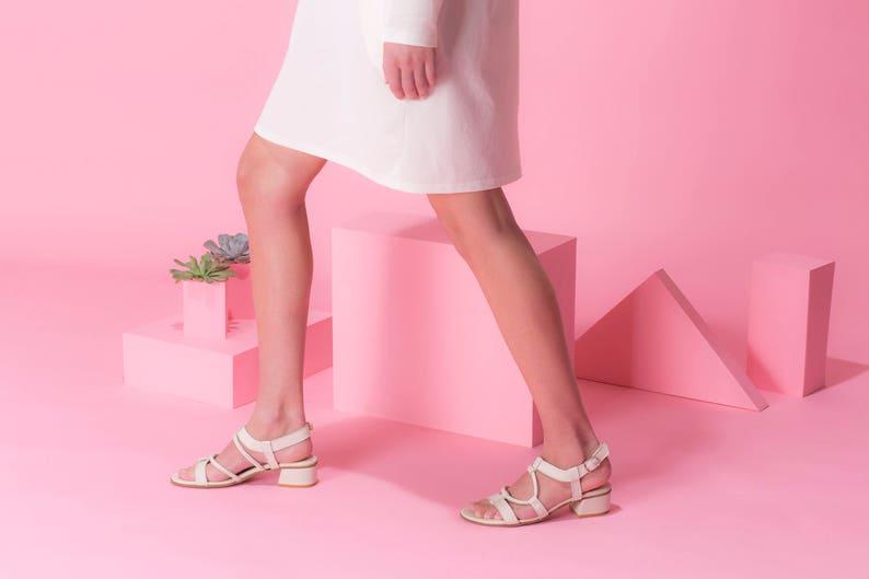 e8e4d6b86b7 White Leather Sandals Low Heels Comfortable Summer Shoes