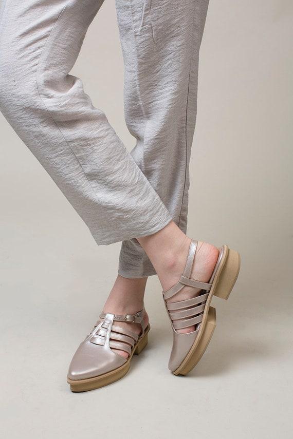 Summer Blue Shoes Sandals Slingback Leather Sandals Toe Closed Sandals Sandals Womens Handmade Shoes Casual Sandals Sandals Light BAx0nSCq