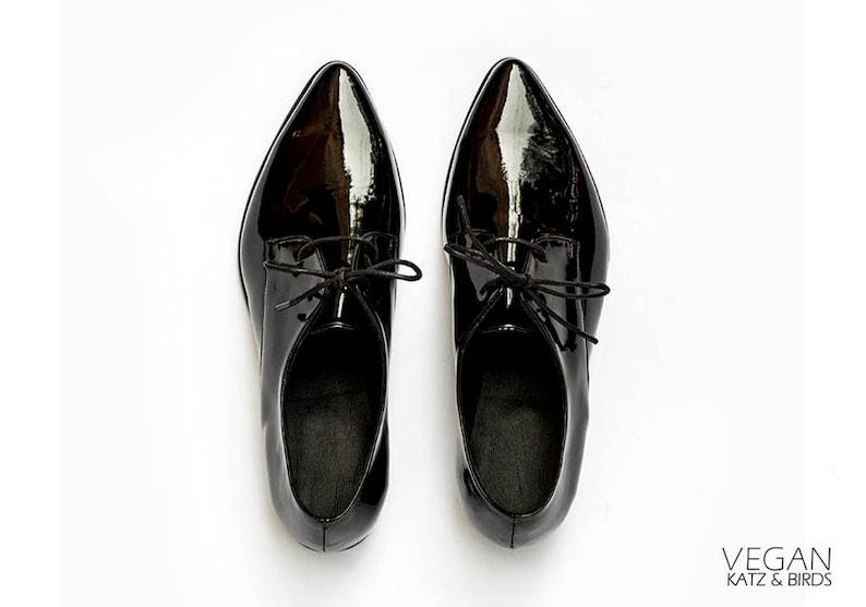 5789c4a830516 Black Shiny Oxford Shoes, Women Dress Shoes, Vegan Leather Oxfords, Lace Up  Oxfords, Elegant Vegan Shoes