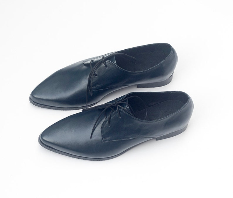 Dark Blue Leather Oxford Shoes Women's Oxfords Pointed image 0