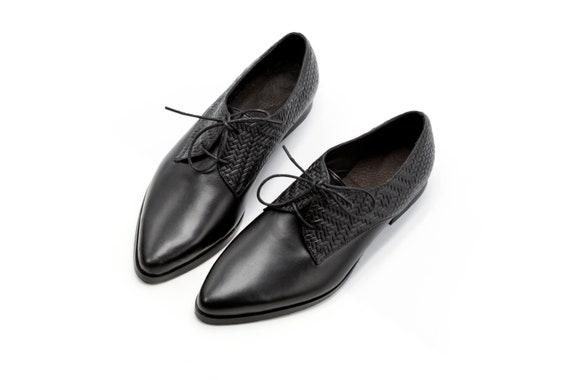 select for best new high quality best service Black Oxford Shoes, Lace Up Textured Leather Oxfords, Oxfords For Women,  Elegant Flat Work Shoes