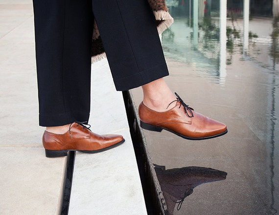 Womens Shoes Women Leather Oxfords Brown Leather Shoes Etsy