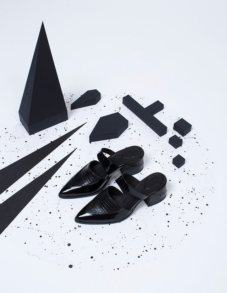 f11c9afb7c738 Women Formal Black Mules, Pointed Toe Shoes, Leather Comfort Shoes, Modern  Slip Ons Sandals, Elegant Black Work Office Mules