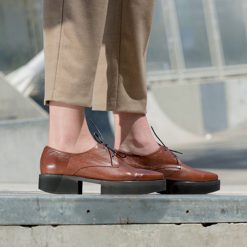 ff850bc4b59f4 Brown Oxford Platform Shoes, Woven Leather Shoes, Women Pointed Toe  Oxfords, Oxford Heels, Unique Heel Shoes