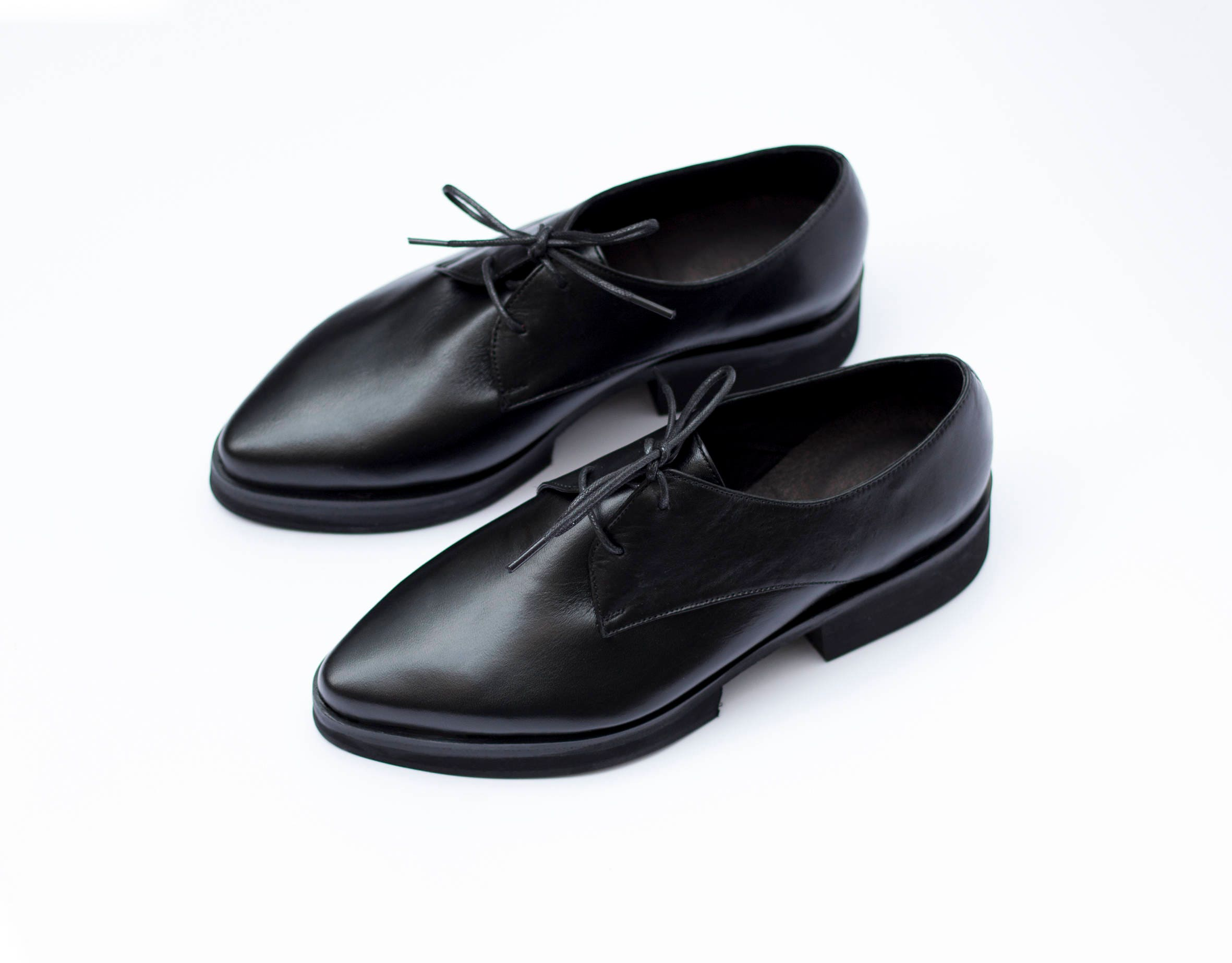 Black Leather Platform Heels Oxfords Stylish Pointy Shoes For  2bafa2670