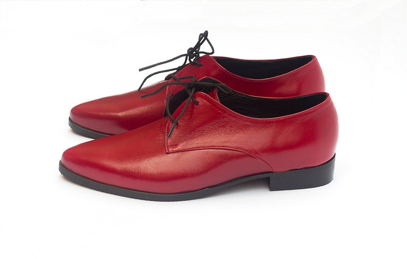 4e25960ef1e1d Red Leather Oxfords Women Oxfords Handmade Oxfords Red
