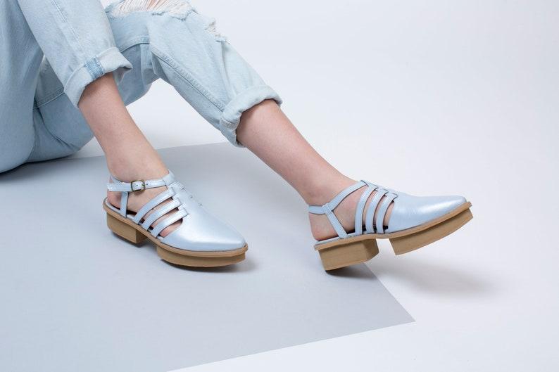 e1c044eaafd Light Blue Leather Sandals with Platform Heels For Women