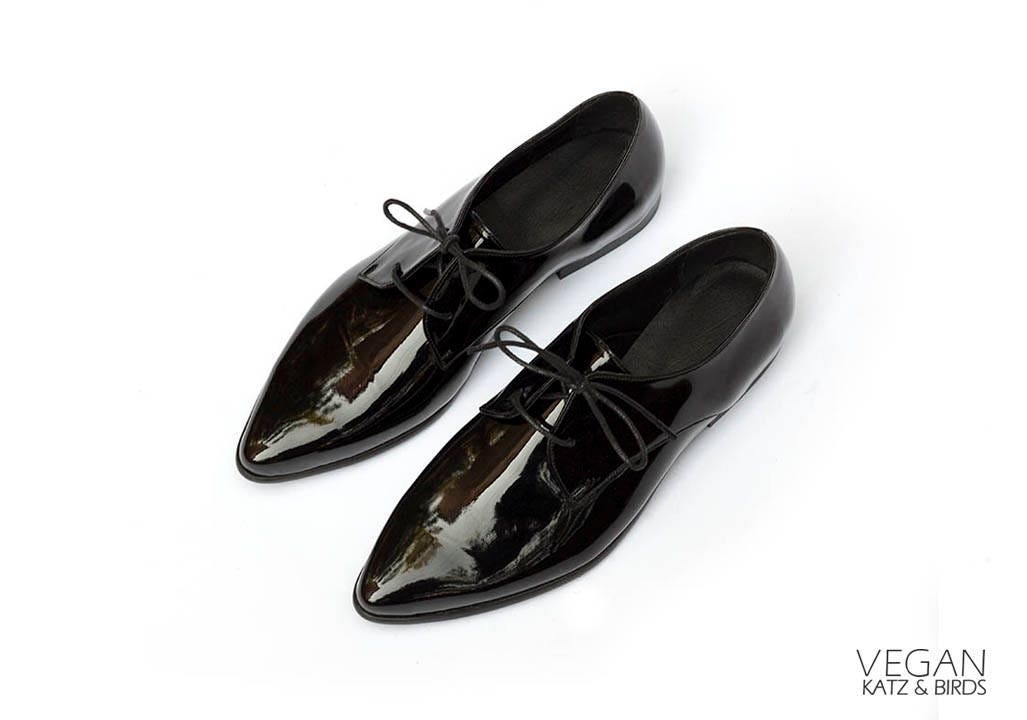 Shiny Black Oxfords Vegan Shoes For Women Stunning Pointed Etsy