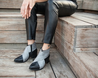 Black Leather Boots, Black Leather Shoes, Woman Gray Shoes, Black Leather booties, Womens Boots, Ankle Boots, Criss Cross Shoes, Women shoes