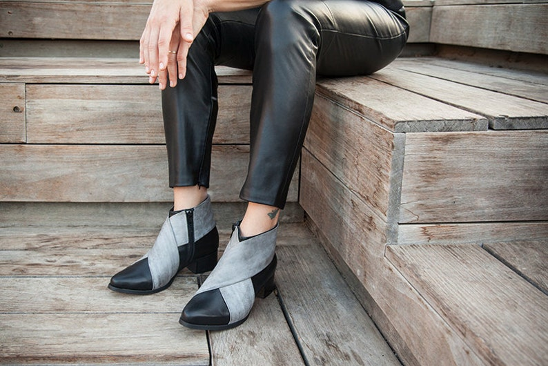 Black Leather Boots Black Leather Shoes Woman Gray Shoes image 0